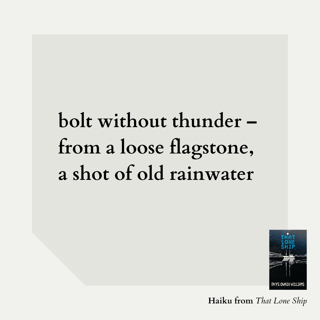 bolt without thunder – from a loose flagstone, a shot of old rainwater